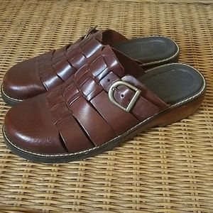 Brown Leather Boho Clogs 7.5